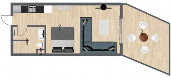 Floor plan for Sea Sand Sun deluxe condo with kitchen